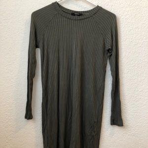 Olive green long sleeve mini dress